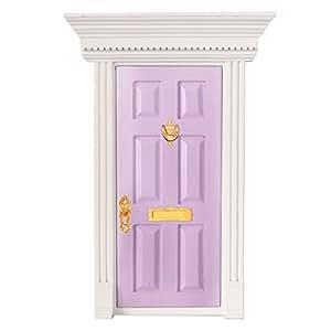 Magideal 1 12 dolls house miniature purple fairy wooden for Amazon uk fairy doors