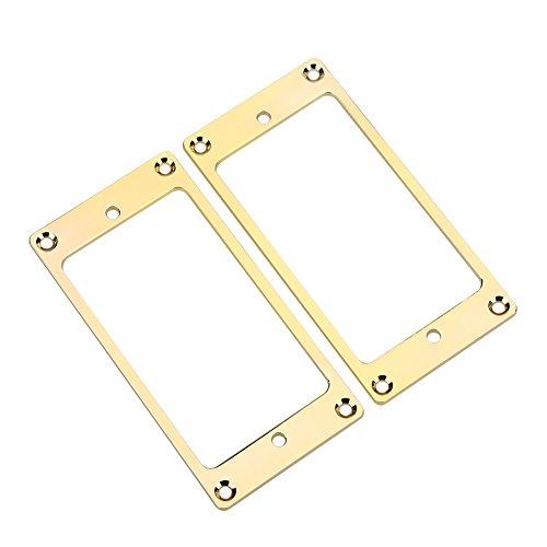 2 Stück Pickup Rahmen, Montage Ringe Metall Humbucker Pickup Cover E-Gitarren Ersatzteile(Gold)