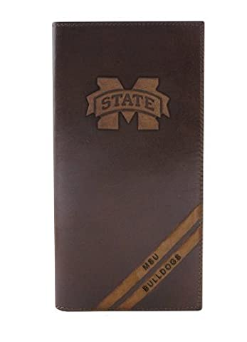 NCAA Mississippi State Bulldogs Zep-Pro Pull-Up Leather Long Secretary Embossed Wallet, Brown by Zeppelin Products, Inc.