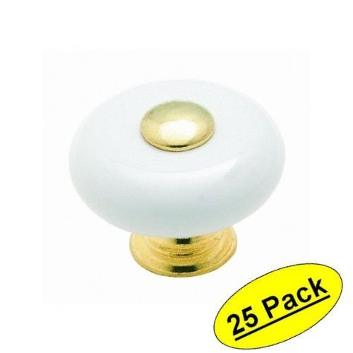 Amerock Cabinet Knobs (Amerock Cabinet Knob 1-1/4 Dia. Allison White Ceramic W/Polished Brass by Amerock)