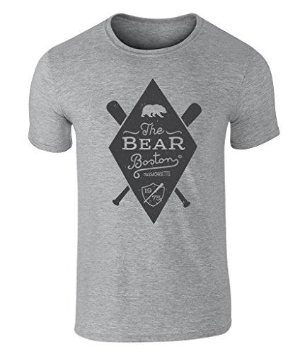 CALIFORNIA BLACK PLATE - The Bear, Bär, Boston Massachusetts Baseball 1975 Icon Vintage Style Grafik Herren T-Shirt, S - XXL Sport Gray