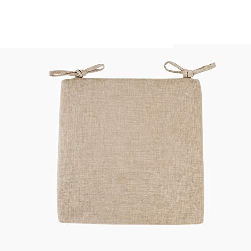 TAT&YAN Comfort Sitzpolster Mit Krawatten Stuhl Kissen, Für Essstühle Küche Garten Stuhl Pad, Reißverschluss Abnehmbare Abdeckung-beige 40x40x3cm -