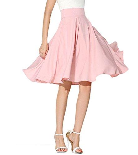CoutureBridal® Damen Rock Vintage Elegant Faltenrock Sommerrock Knielang Acetate Satin Pink