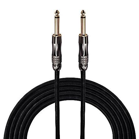 Rayzm câble de guitare - Câble professionnel 3m pour guitare / basse, Connecteur ¼ « mâle droite à droite plaqué or avec revêtement en tweed noir (Jacks Connexion en Cuivre/ Contacts Or)
