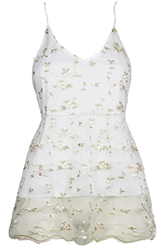 Womens Thin Camisole Strappy V Neck Beads Floral Full Lace Baggy Ladies Vest Top