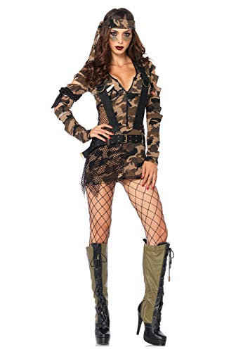 AniKigu Mujer Disfraz de Camuflaje Militar Ejército Soldado Vestido y Sombrero Juego de Roles El Uniforme Cosplay Halloween