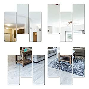 Look Decor SAG 12 Frame Silver 3D Mirror Acrylic Wall Sticker Decoration for Kids Room/Living Room/Bedroom/Office/Home Latest Wall Art Number 1326