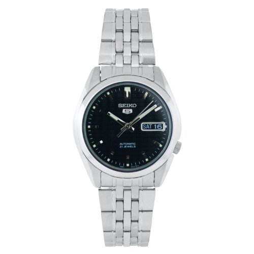 Seiko Men's SNK361 Stainless Steel Analog with Black Dial Watch image