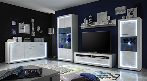 Wohnwand mit Sideboard weiss hochglanz Rillenoptik/ weiss Nachbildung