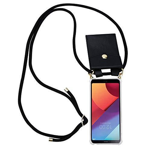 Cadorabo Handy Kette für LG G6 in SCHWARZ - Silikon Necklace Umhänge Hülle mit Gold Ringen, Kordel Band Schnur & abnehmbarem Etui - Schutzhülle