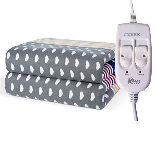 JiaQi Heizdecken Twin,Wärmeunterbett,Doppelte Kontrolle Thermostat Sicherheit Strahlungsfrei Home Student Für Bett oder Couch-J 200x180cm(79x71inch)