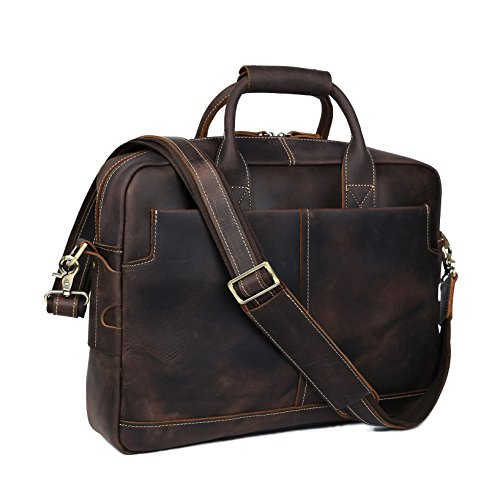BAIGIO Borsa a Mano Borsa a Tracolla da Uomo in Vera Pelle Porta PC 15.6'' Stile Business e Casual, Marrone Scuro
