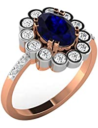 Silvernshine 0.59 Cts Round Cut Sapphire & Sim Diamond Engagement Ring In 14KT White Gold PL