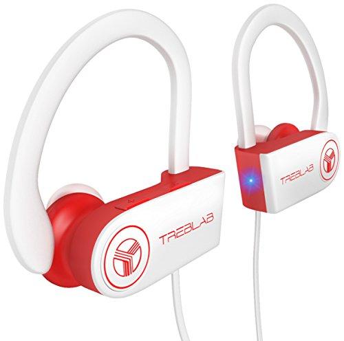 TREBLAB XR100 Bluetooth Kopfhörer, Beste drahtlose Ohrhörer für das Training, geräuschunterdrückendes, schweißfestes, schnurloses Headset für Sport & Fitness, Kopfhörer mit Mikrofon, iPhone Android