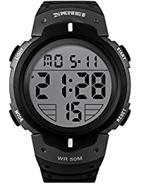 fc2e4e200f8 SKMEI Mens Watch Military Digital Sport Watch with LED Display Water  Resistant Boys Watches Sliver
