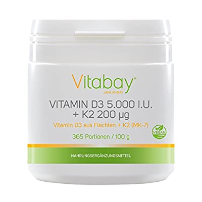 Vitamin D3 + Vitamin K2 Menaquinone MK7 200 ?g - 99.99% trans-form - Cis content 0% - vegan powder 365 servings without capsules - 1.000 I.E. per day - every 5 Day from Vitabay