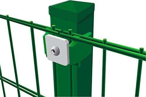 Komplettset Doppelstabmattenzaun, 10 m x 83 cm (B x H) in grün (Maschung 200x50 cm), inkl. Pfosten und Montagematerial - alles, was Sie zum Auftstellen des Zaunes benötigen
