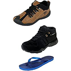 Maddy Multicolor Syntactic Combo Pack Of 3 Shoes And Slippers For Men In Various Sizes