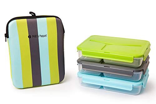 3 boites repas hermétiques alimentaires- lunch box avec 3 compartiments et un sac isothèrme - Idéal pour les enfant ou pour le travail - adapté au micro-onde, lave-vaisselle, congélateur