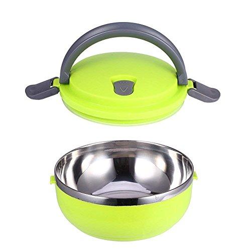 Yosoo Lunchbox Tragbare Isolierung Edelstahl Innendämmung Thermal Leakproof 1/2/3 Fächer mit Griff Foodbehälter Warmhaltebox für Essen (1 Layer, Grün)
