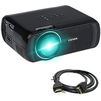 Proiettore, Crenova XPE460 Proiettore Mini LED Protezione occhi con uscita HDMI USB SD AV VGA PC Xbox Portatile per Family Entertainments, Home Cinema, Kids Learning + Telecomando