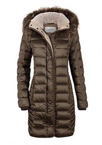 Milestone Damen Daunenmantel Winter Mantel Gesteppt Bordeaux Braun Kapuze mit Echtfellbesatz Tailliert Gr. 36 - 44 (36)
