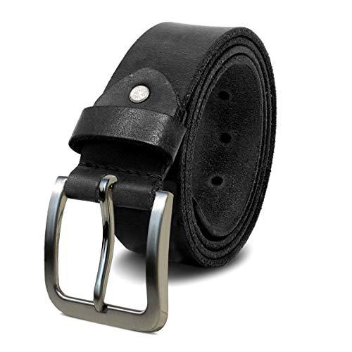 Voll-leder (ROYALZ Herren Ledergürtel aus robusten 4mm Büffel-Leder, Vintage Hose Jeans-Herren-Gürtel Voll-Leder, Größe:95, Farbe:Schwarz - Schnalle gebürstet)