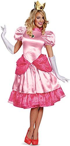 kleidung Deluxe für Damen M (Mario Prinzessin Kostüm)