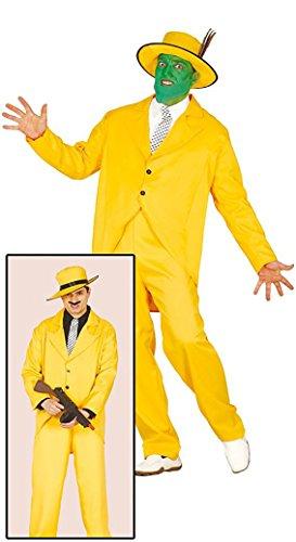 Partyklar Gangster Jim Grüne Maske Gelber Anzug Kostüm Herrenkostüm (Jim Carrey Kostüm)