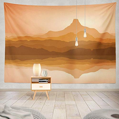 gthytjhv Tapisserie Decor Collection, Mountains with Lake Mountain Art Sea Evening Hill Journey Lake Bedroom Living Room Dorm Wall Hanging Tapestry Polyester & Polyester Blend -