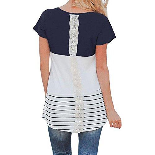 Hibote Mutterschaft Kleidung Stillen Tops Pflege Top Kurzarm Frauen T-Shirt Tees Dunkelblau M (T-shirt Mutterschaft Shorts)