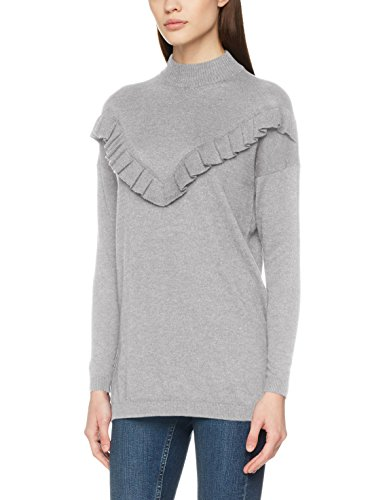 ONLY Damen Onlcarola L/S Long Highneck Pullover Knt, Grau (Light Grey Melange), 36 (Herstellergröße: S)