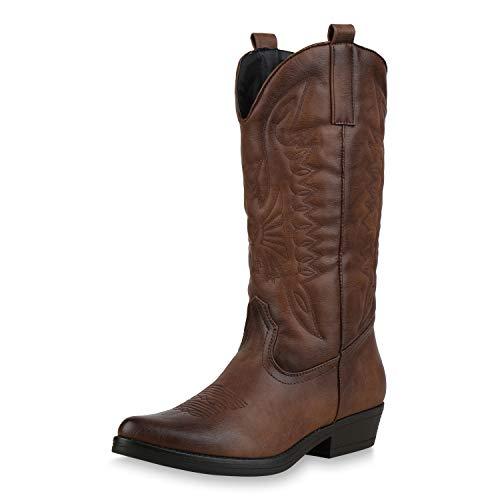 SCARPE VITA Damen Cowboystiefel Stickereien Western Stiefel Cowboy Boots 173419 Braun 40