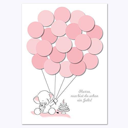 Erster Geburtstag, 1. Geburtstag Geschenk, Gastgeschenk, Deko, Andenken, Idee, Glückwünsche, Fingerabdruck, Erinnerungsstück, Elefant, mädchen, rosa