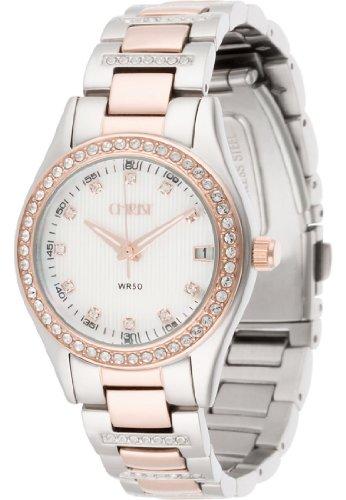CHRIST times Damen-Armbanduhr Edelstahl Analog Quarz One Size, perlmutt, silber rosé