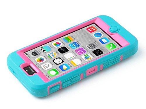 iPhone 5c Hülle, ULAK iPhone 5c Case 3in1 Stoßfest Hybrid High Impact Hart PC und Weiche Silikon Schutzhülle Tasche Case Cover für Apple iPhone 5c (Schwarz) Blau + Rose