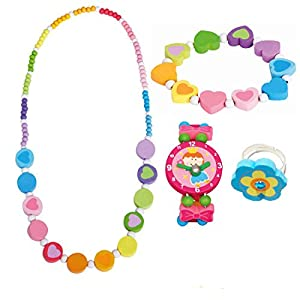 BINO 4 TLG. Set Holzschmuck Mädchenschmuck Kinderschmuck Motiv Regenbogen – Halskette Armband Blume Rosa Armbanduhr Ring