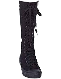 Frauen Maedchen Schuhe Canvas Flache Stiefel mit Reissverschluss  Schnuerschuhe Kniehohe… 0b5d27bbd9