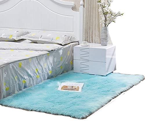 BSNOWF- Tappeto Tappeti Area di Facile Manutenzione per Comodino Tappeto Tavolino da Salotto, Tappeto Comodino Morbido soffice per Pavimenti di Prossoezione, Azzurro (Dimensioni   60×90 cm) 9c6447