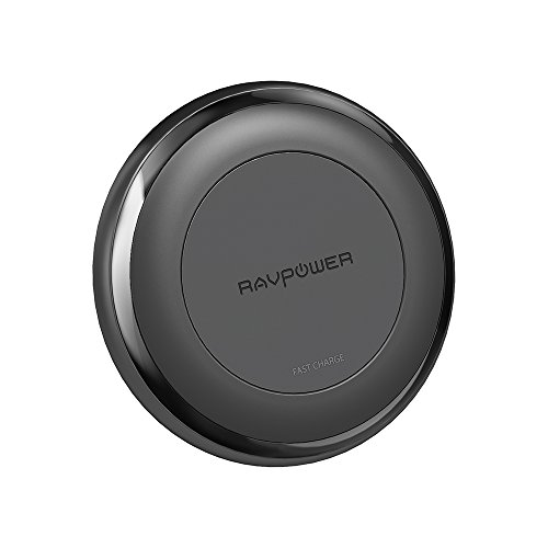 RAVPower Fast Wireless Charger for iPhone X / iPhone 8 / 8 Plus Qi Wireless Charging Pad for Galaxy S8 Note 8 and All Qi-Enabled Devices (QC 3.0 Adapter Included)