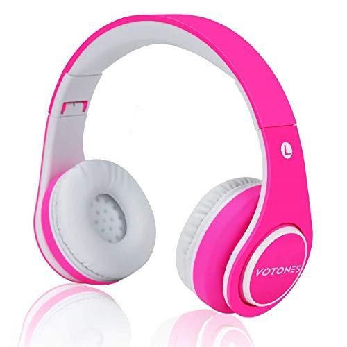 Votones Kinder kopfhörer kabellos mädchen,Gummi Öl Komfortables Material über Ohr Bluetooth Headset für Kinder,85dB Lautstärkeregler kompatibel für Smartphone/PC Tablet (Rosa) Rosa Bluetooth Headset