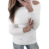 ☺Pullover Strickjacken für Damen Schön Flaumige Sweatshirts Oberteil Hemd Locker Strickpullover Sport Freizeit Kalte Schulter Sweater Stricken Kleidung Langarmshirt Bluse Pulli Tops Blusen für Frauen
