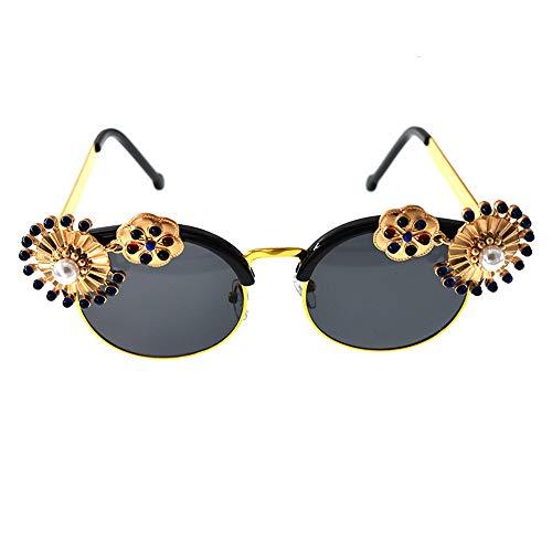 Yiph-Sunglass Sonnenbrillen Mode Bunte Metallblumen-barocke Sonnenbrille mit Perlen-Dekoration für die Frauen, die reisenden Sommer-Strand Fahren