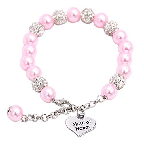 damigella d' onore braccialetto di perle gioielli regali, acciaio inossidabile, colore: Pink, cod. Maid-Honor-Bracelet-0927