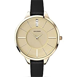 Sekonda Editions Gold Dial Black Leather Strap Ladies Fashion Watch 2299