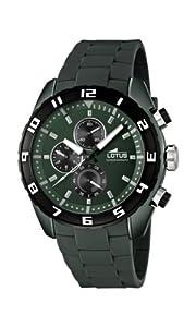 Reloj cronógrafo Lotus 15842/4 de cuarzo para hombre, correa de goma color verde (cronómetro, agujas luminiscentes)