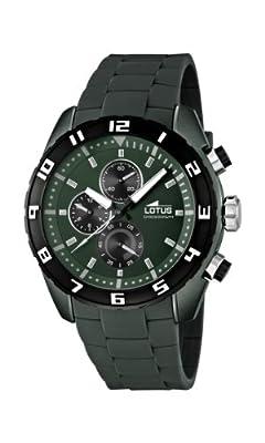 Lotus 15842/4 - Reloj cronógrafo de cuarzo para hombre, correa de goma color verde (cronómetro, agujas luminiscentes) de Lotus