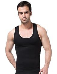 ZEROBODYS Hombres Faja Chaleco que adelgaza la camisa de fresco seco SS-M02 Negro (XL)