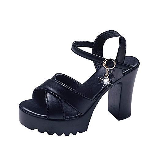 om Plattform High Heels Wedges Sandalen Klassisch Open Toe Schnalle Bequem Sandalen(Schwarz,EU 37) ()