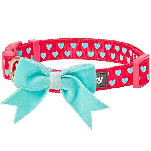 Blueberry Pet Valentins-Herz-Beflockung Hundehalsband in Lust-Rot mit Abnehmbarer Samtiger Fliege, M, Hals 37cm-50cm, Verstellbare Halsbänder für Hunde